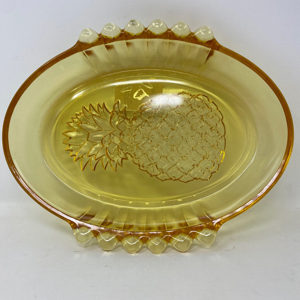 Indiana Glass Yellow Mist Pineapple Serving Dish