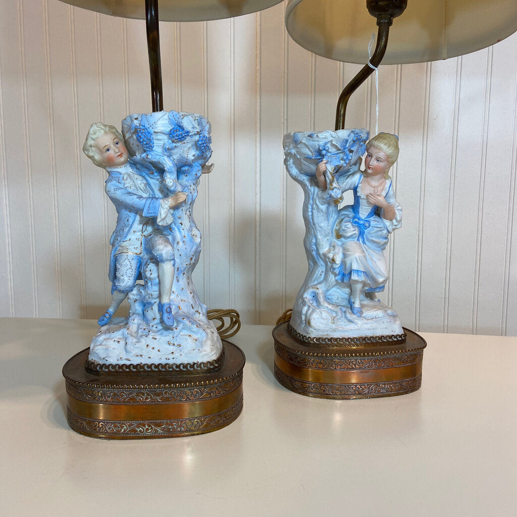 French Bisque Porcelain Blue & White Courtship Lamps