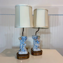 Load image into Gallery viewer, French Bisque Porcelain Blue & White Courtship Lamps