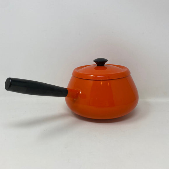 1960s Vintage Orange Fondue Pan