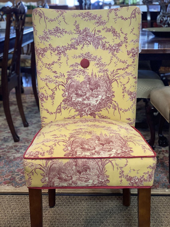 Yellow & Red Toile Side Chair