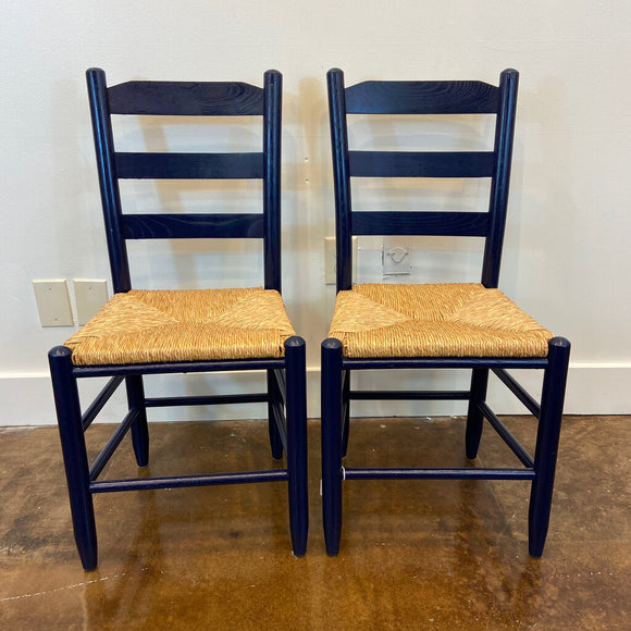 Blue Ladderback Chairs- Pair