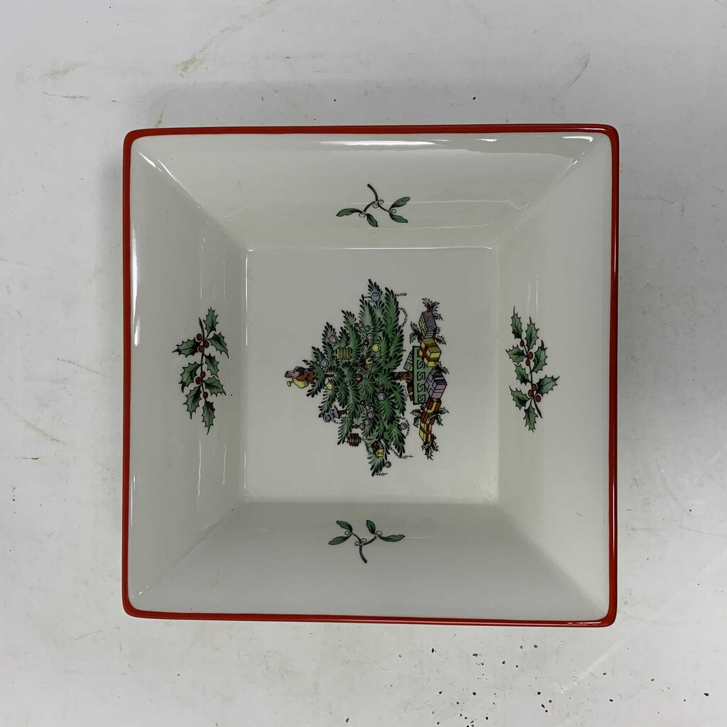 Spode Christmas Tree Red Band Square Tray