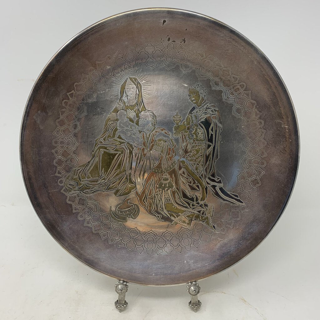 Reed & Barton 1973 Silver Plate Engraved Nativity Scene