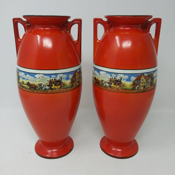 Antique Malta Coach Scene Red Vases (Pr.)