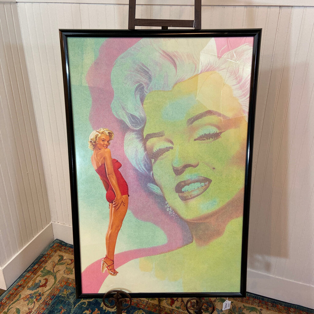 Marilyn Monroe Framed Poster, Red Swimsuit & Heels