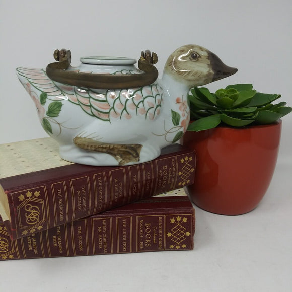 Hand-Painted Duck Teapot with Brass Handle