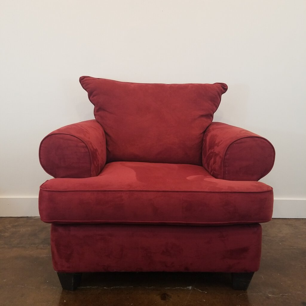 Red Overstuffed Chair, Suede Like Fabric