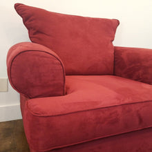 Load image into Gallery viewer, Red Overstuffed Chair, Suede Like Fabric
