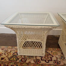 Load image into Gallery viewer, Pair of Vintage White Rattan Glass Top Tables