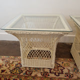 Pair of Vintage White Rattan Glass Top Tables