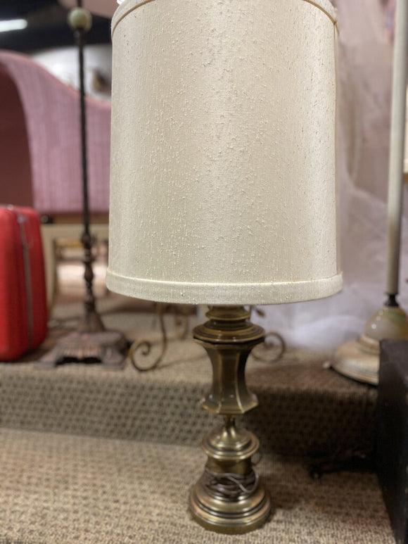 Pair of Stiffel Brass Lamps with Original Shades