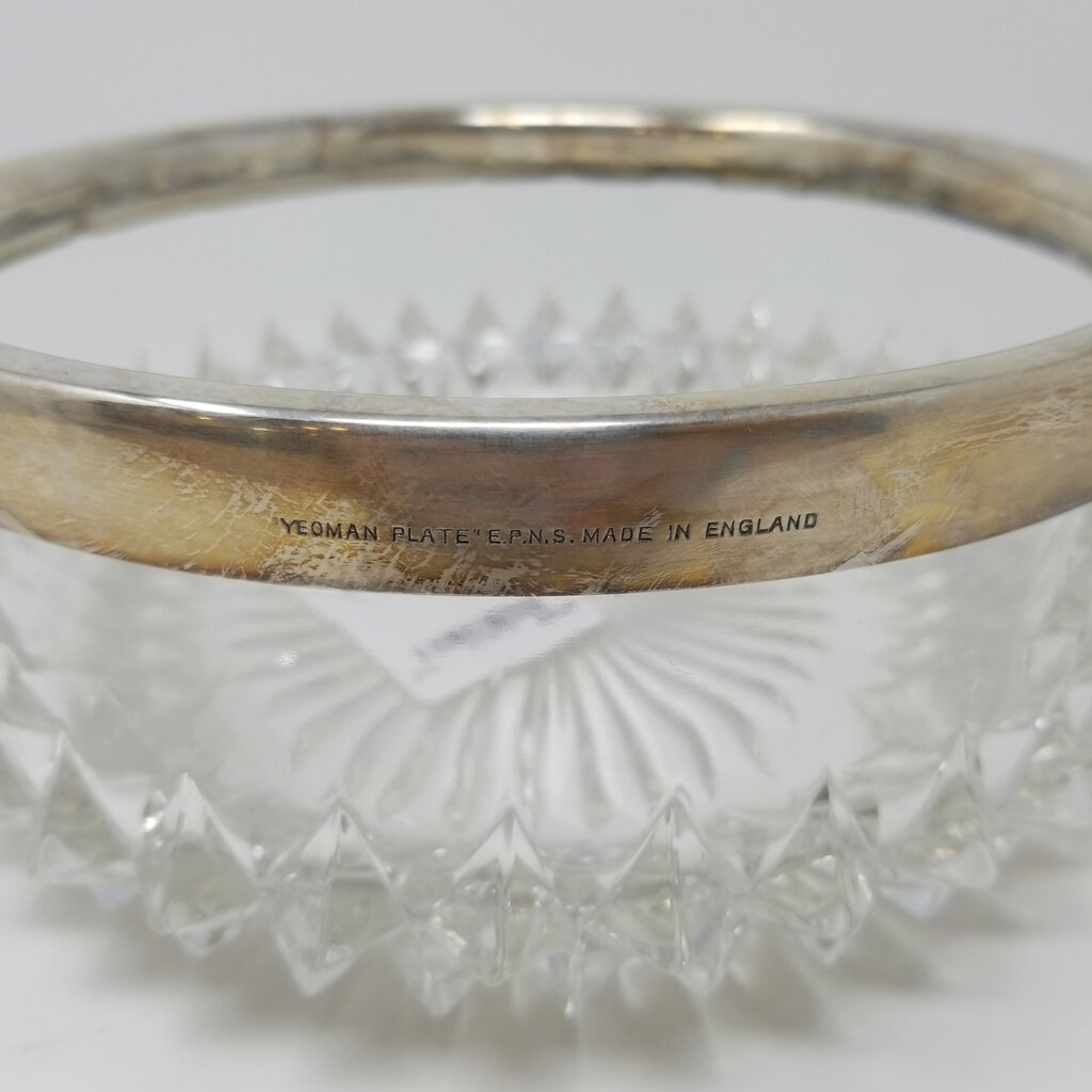 Yeoman Glass Bowl with Silverplate Rim