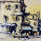 John McIver, Listed Artist, 1966 Signed Mid-Century Abstract Painting of Village/City Scene
