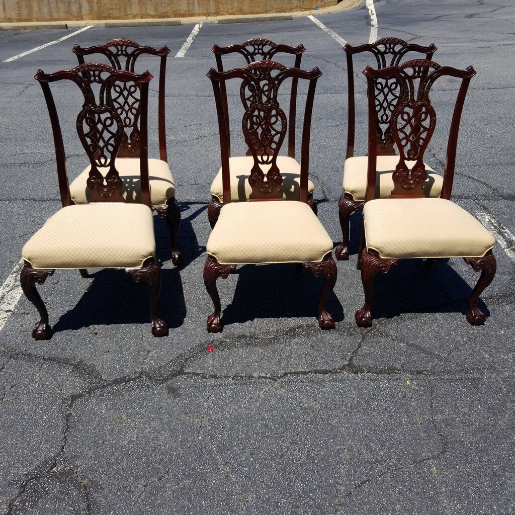 Chippendale Mahogany Dining Chairs- Set of 6