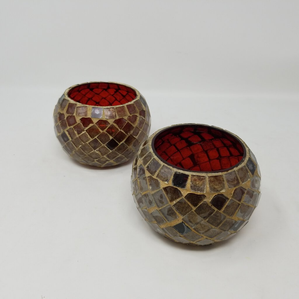 Red Mosaic Glass Candle Holders- Pair