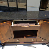 Walnut Server Buffet with Black Granite Top