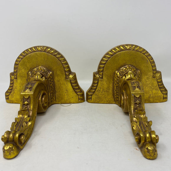 Gold Wall Sconce Shelf Plate Holder- Pair