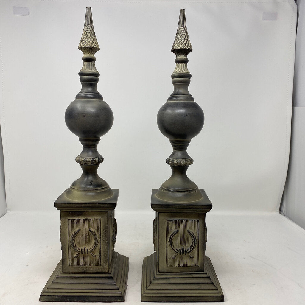 Gray Decorative Finial- Pair