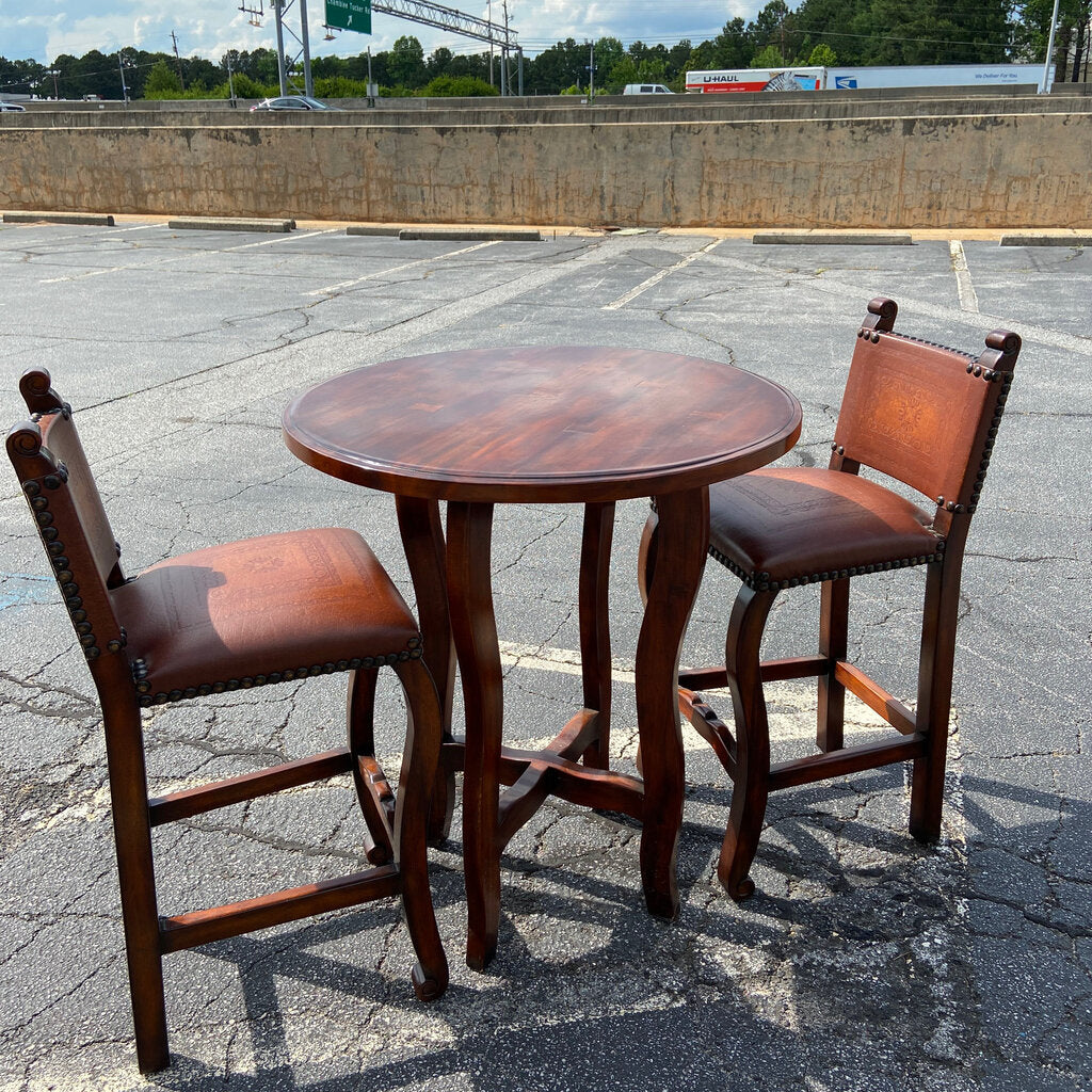 Theodore Alexander Walnut Bistro Table & Embossed Leather Barstools