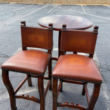 Load image into Gallery viewer, Theodore Alexander Walnut Bistro Table & Embossed Leather Barstools