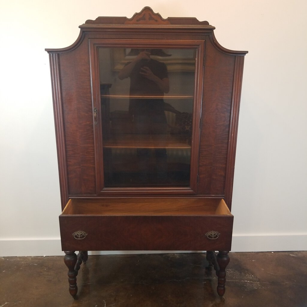 Vintage Walnut China Cabinet