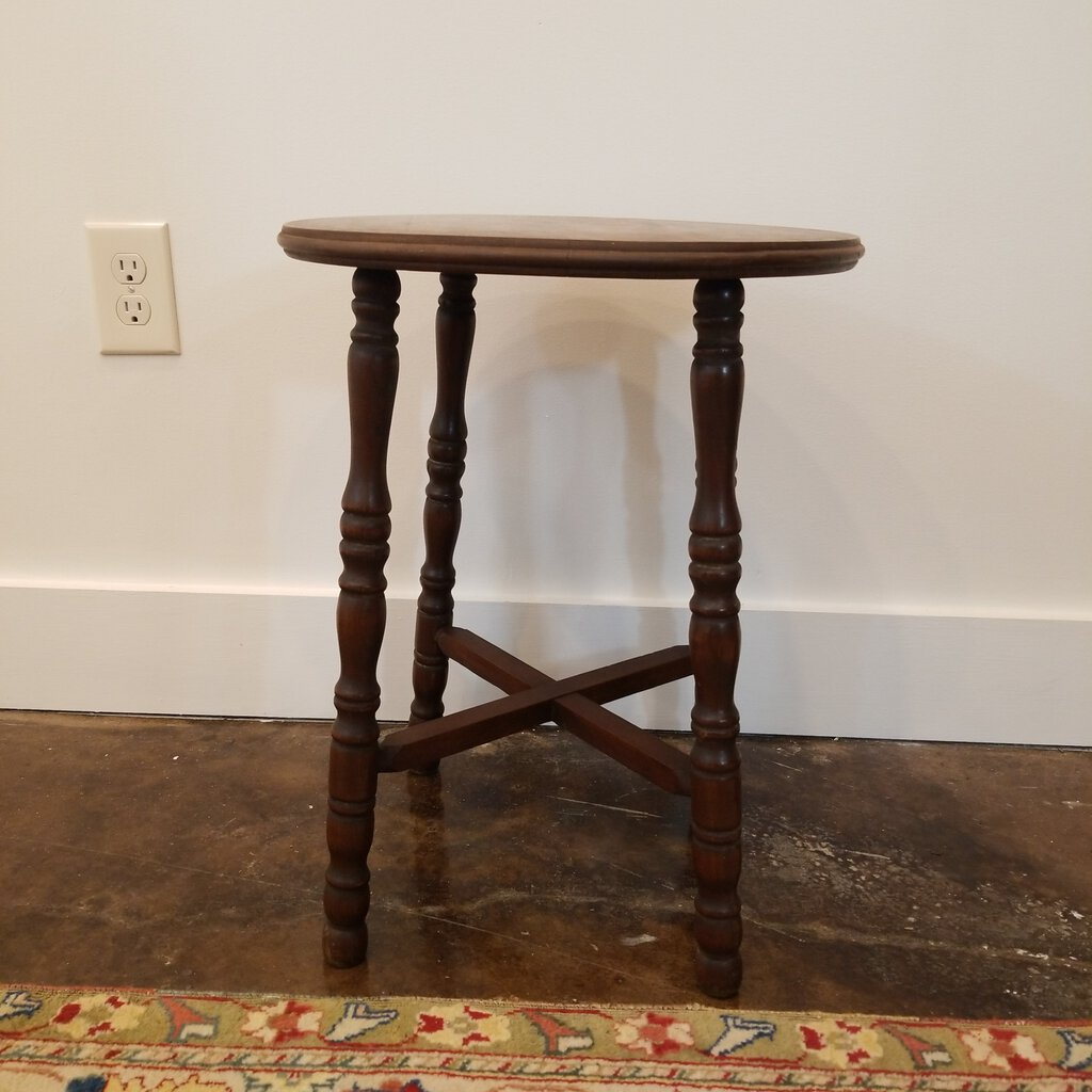 Round Walnut Accent Table