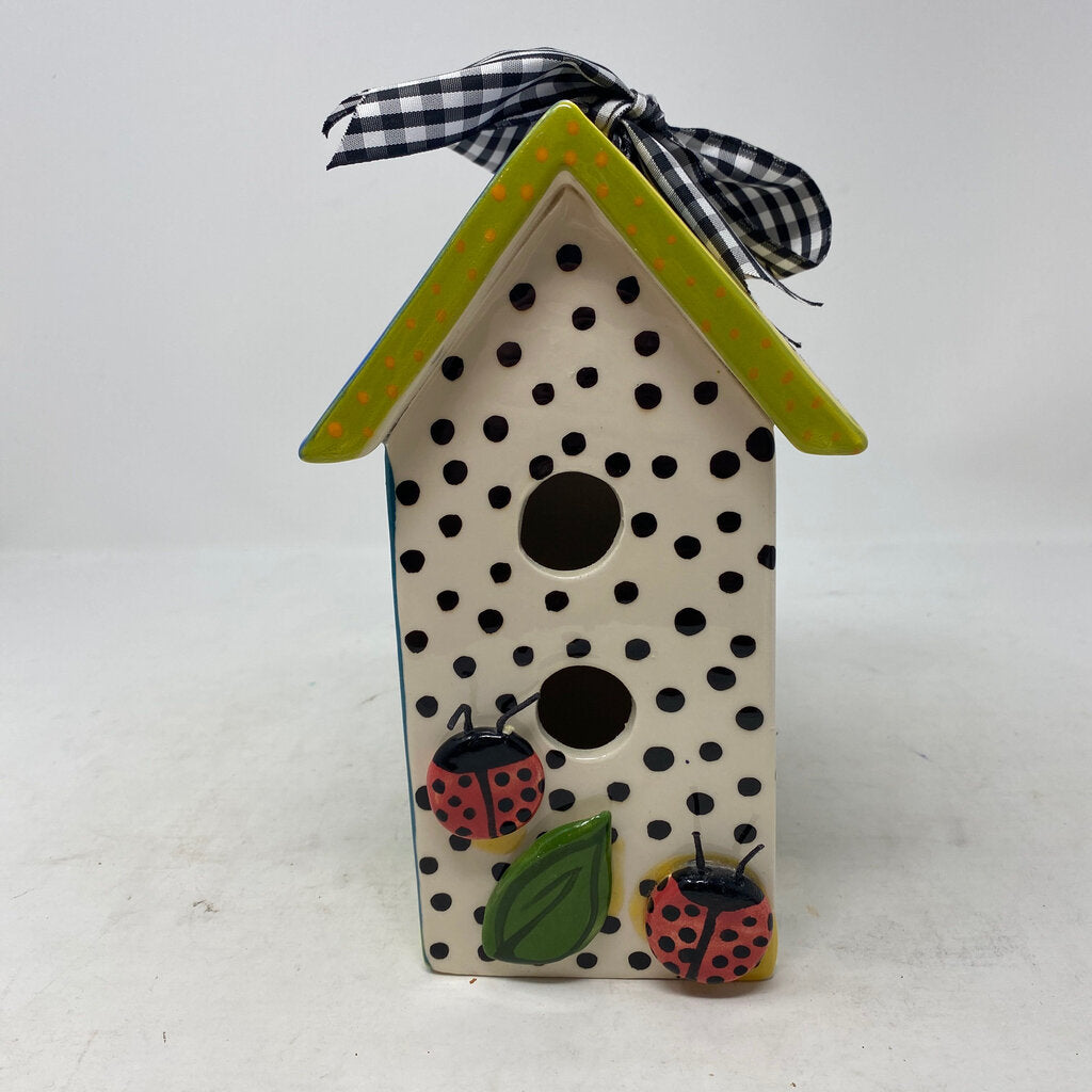 Lynn Morris Ceramic Birdhouse Decor, Lady Bugs, Frogs, Clouds