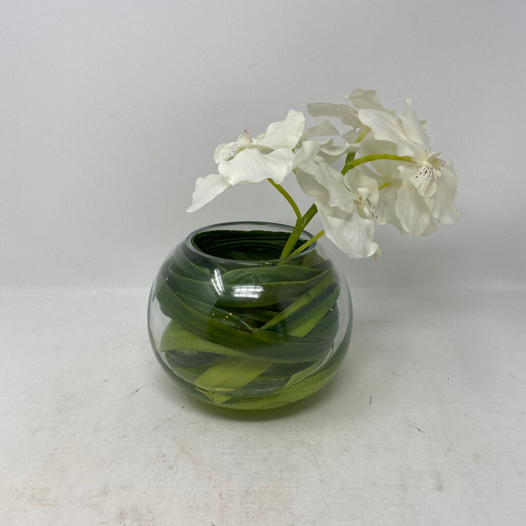 Clear Glass Vase w White Orchid