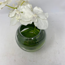 Load image into Gallery viewer, Clear Glass Vase w White Orchid