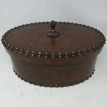 Load image into Gallery viewer, Maitland Smith Leather with Brass Tacks Oval Covered Box, Large