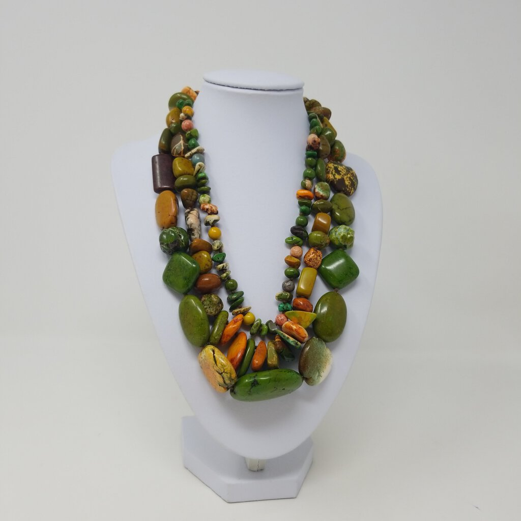 Chunky Triple Strand Stone Necklace