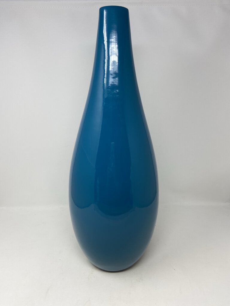Torre & Tagus 900516 Juno Lacquered Bamboo Pin Vase, Teal, As Found