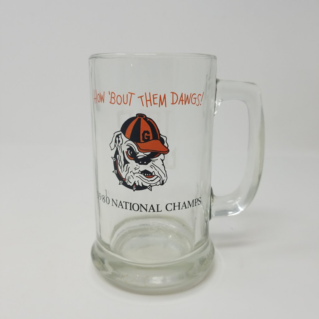 UGA 1980 National Champs Glass Mug Monogrammed