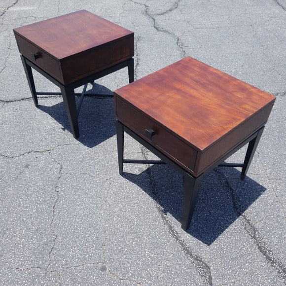 Wood & Metal Modern End Tables - Pair
