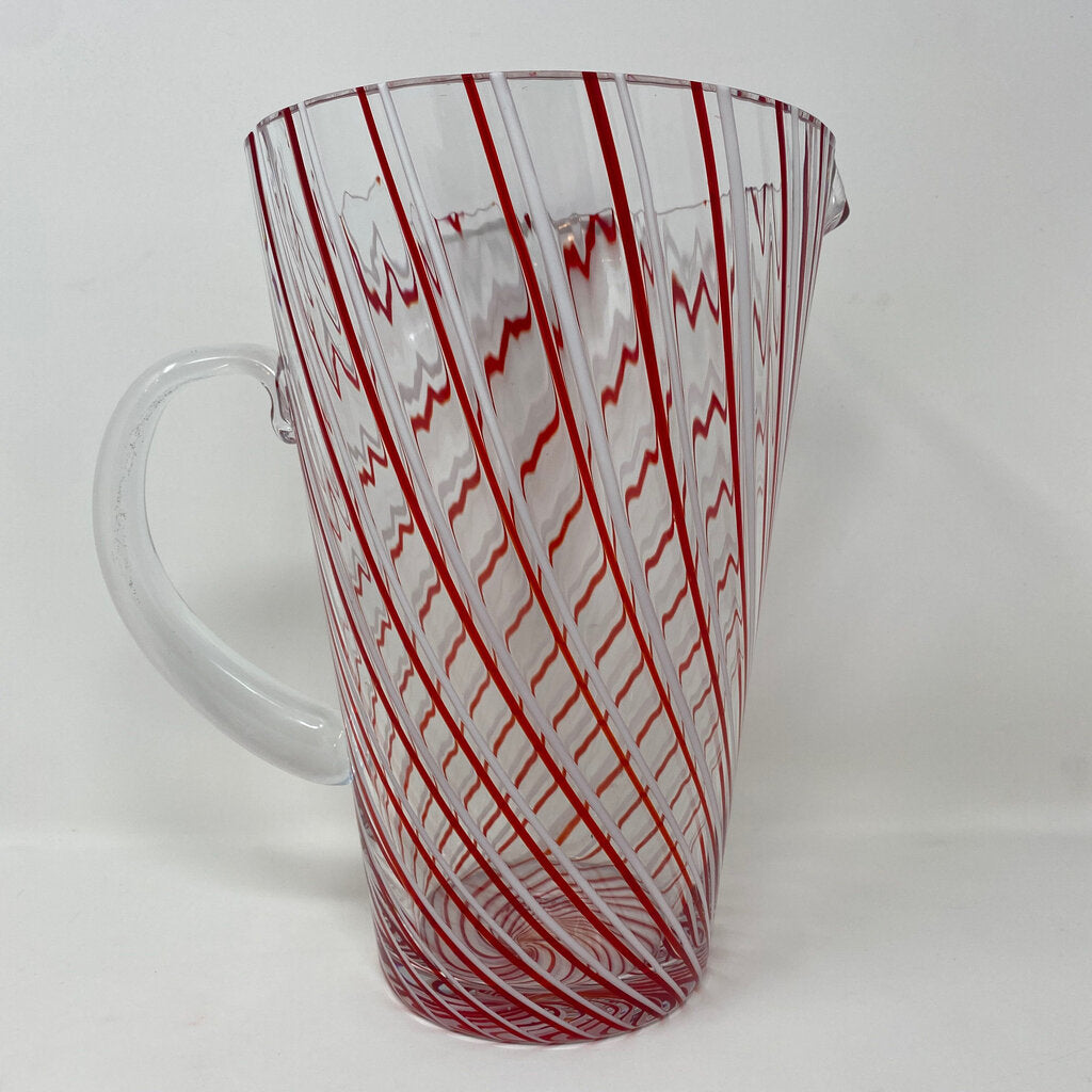 Red & White Ribbon Candy Stripe Glass Pitcher