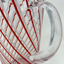Load image into Gallery viewer, Red & White Ribbon Candy Stripe Glass Pitcher