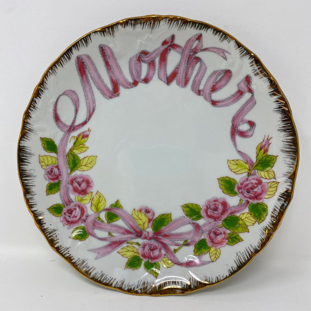 Enesco Vintage Japan 'Mother' Plate w Roses
