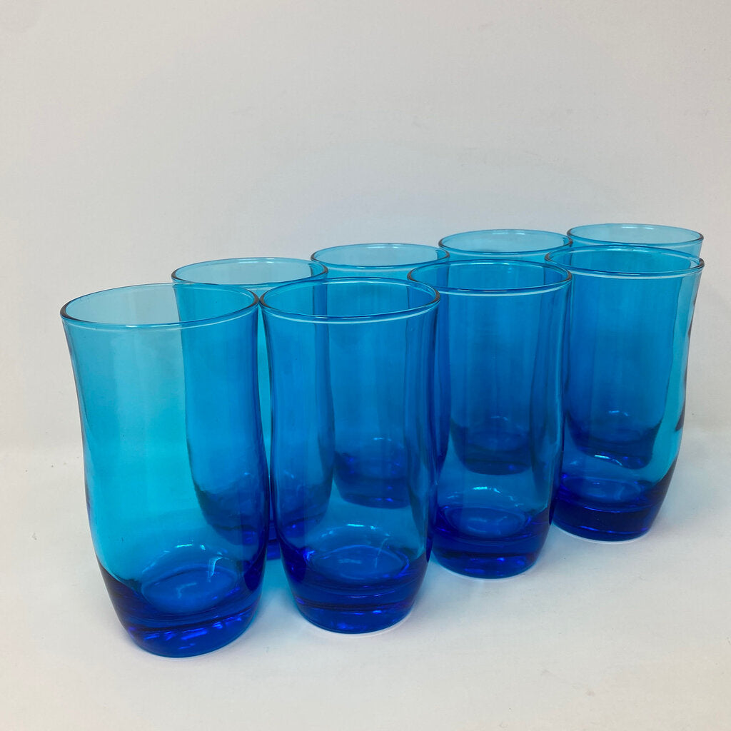 Anchor Hocking Laser Blue Vintage Flair Water Glasses - 8