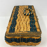 Wood Framed Wicker Straw Vintage Sewing Basket Tufted Satin As-Is