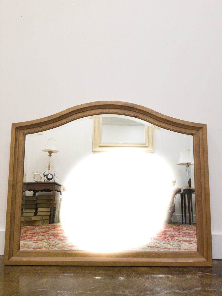 Scalloped Top Wood Framed Bevelled Mirror