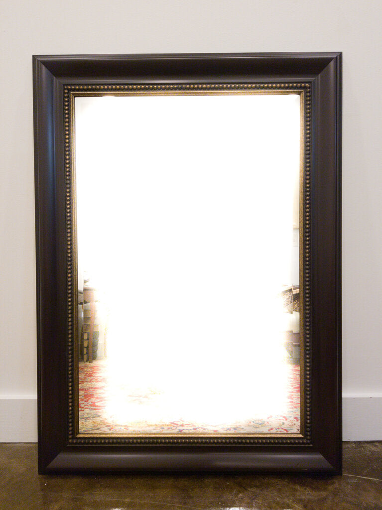 Mahogany Tone & Gold Accent Bevelled Mirror