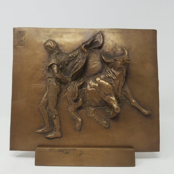 Bronze Finish Matador & Bull Bullfighting Plaque w Stand by Nancy Dupont Twyman