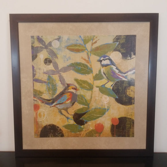 Framed Colorful Birds & Leaf Art