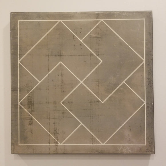 Gray Distressed Geometric Canvas Art