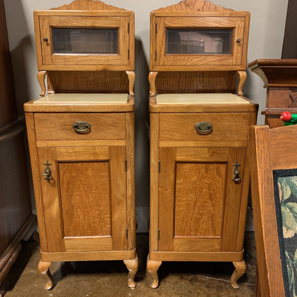 Antique Oak Night Stands or Dental Barber Cabinets