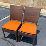 Pair Vinyl Wicker Patio Dining Side Chairs - Orange Cushions