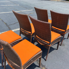 Load image into Gallery viewer, Pair Vinyl Wicker Patio Dining Side Chairs - Orange Cushions
