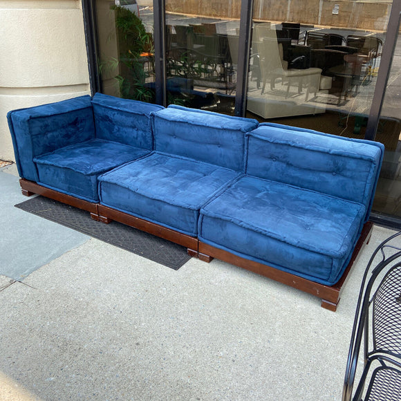 Blue Platform Base 3 Section Sofa