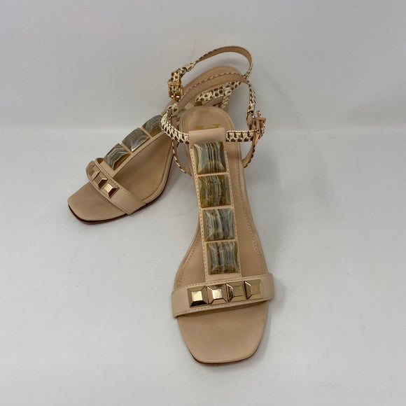 Vera Cuoio Natural Beige Tan Leather Jeweled T-Srap Heels